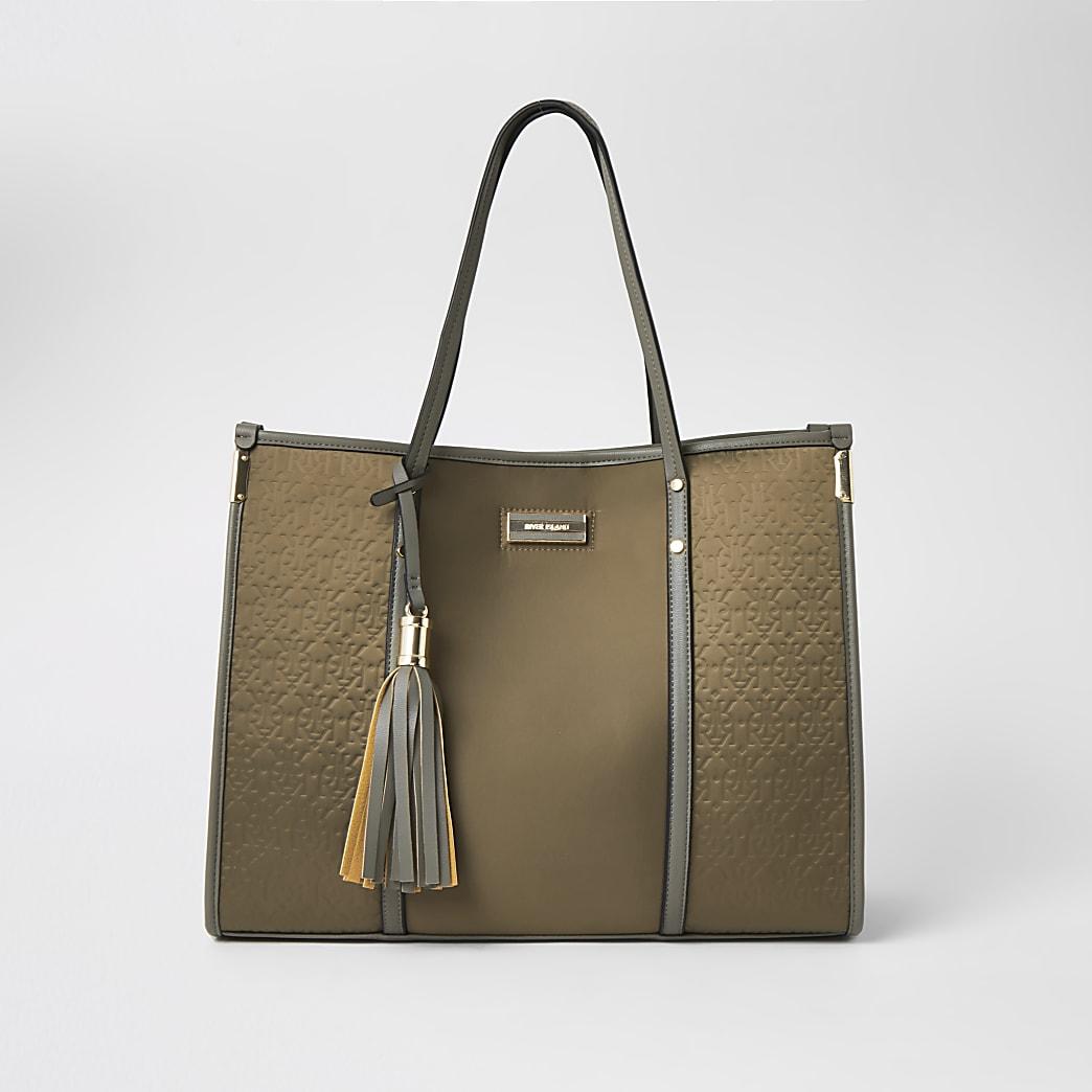 Khaki RI embossed nylon shopper tote bag