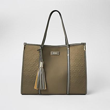 Khaki RI embossed shopper tote Handbag
