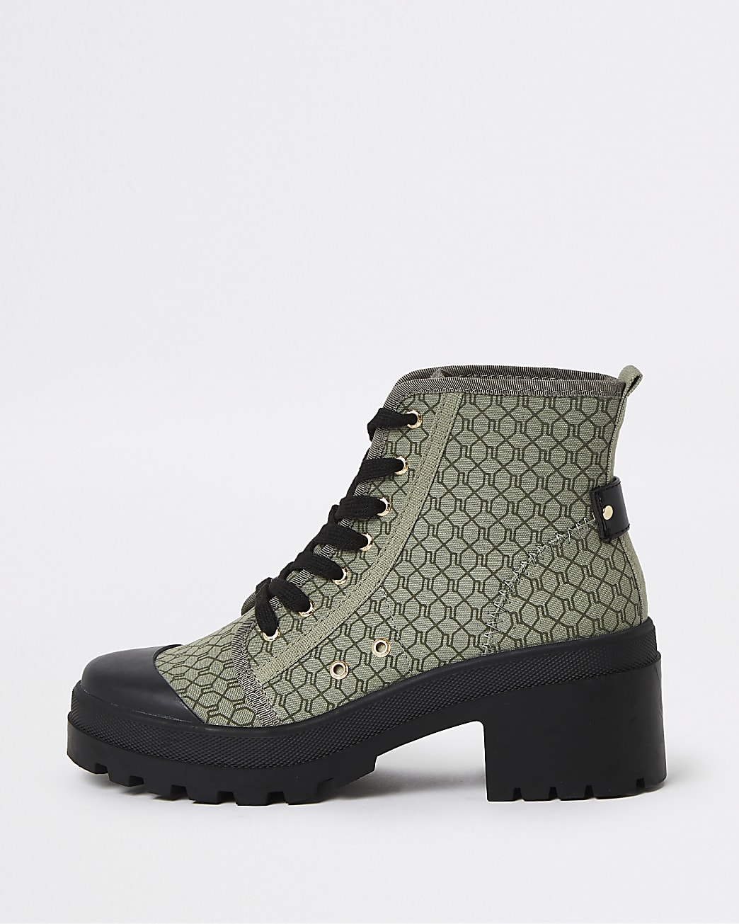 Khaki RI monogram canvas lace up ankle boots