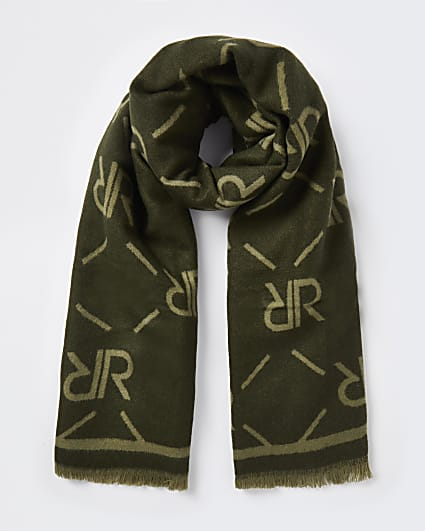 Khaki RI monogram print scarf