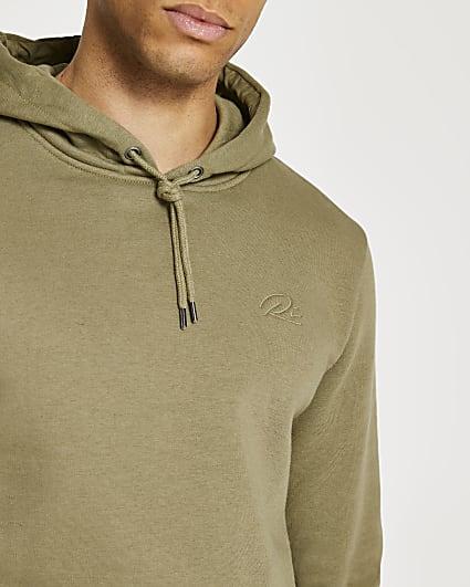 Khaki RI slim fit hoodie