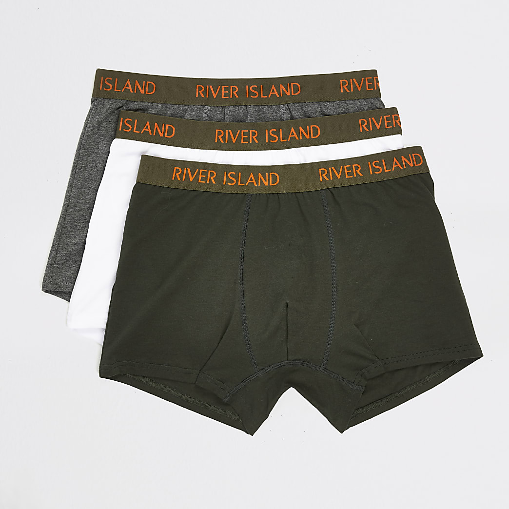 Set van 3 Kaki strakke boxers met RI-logo op de tailleband