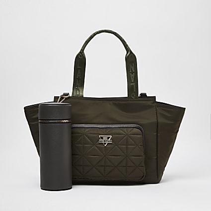 Khaki RI wing tote bag and bottle holder