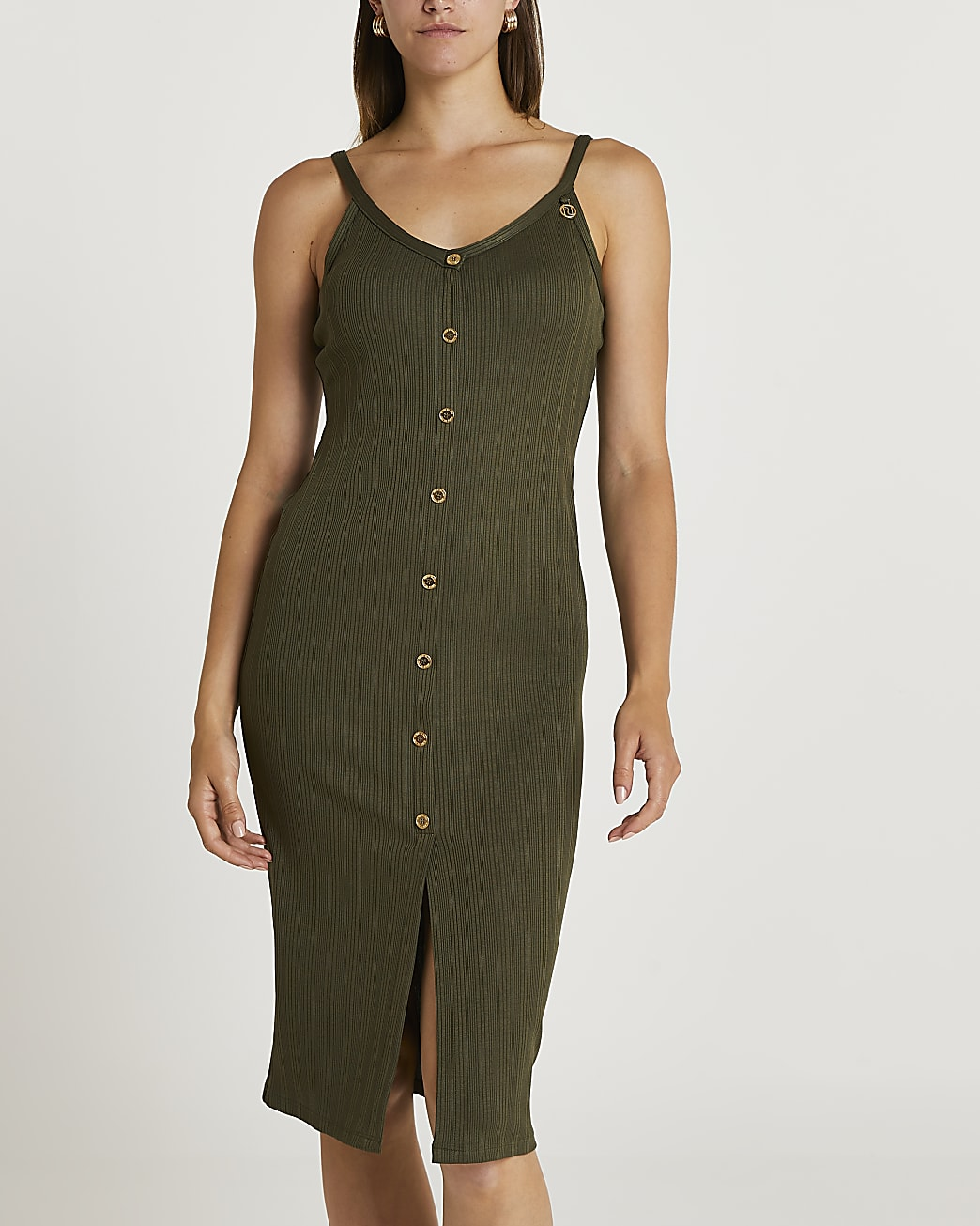 Khaki ribbed button front midi dress
