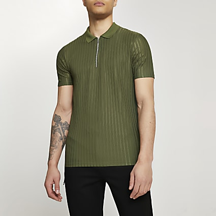 Khaki ribbed design slim fit polo