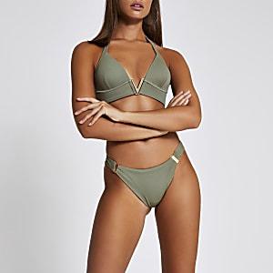 Bas de bikini échancré kaki côtelé