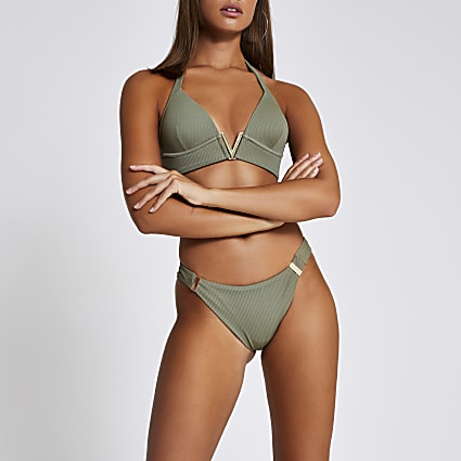 Khaki ribbed high leg bikini bottoms