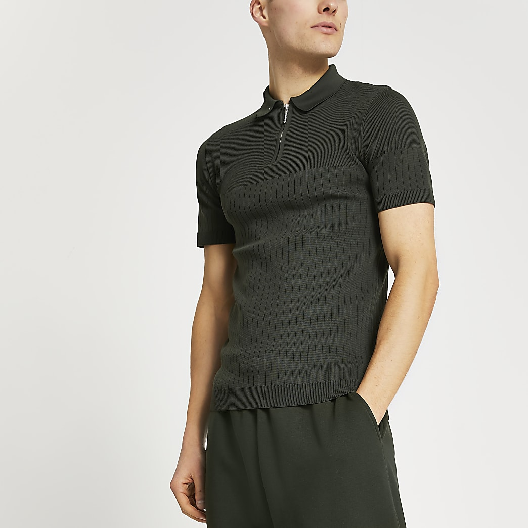 Khaki ribbed knit muscle fit polo shirt
