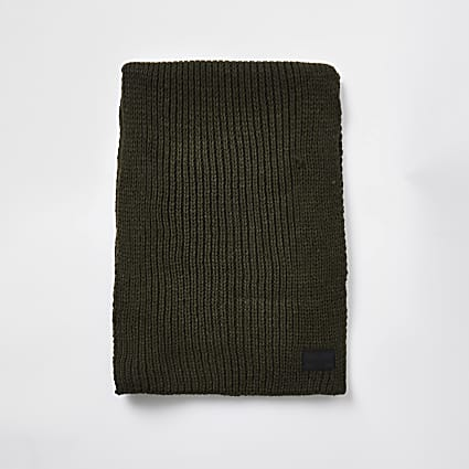 Khaki ribbed knit scarf