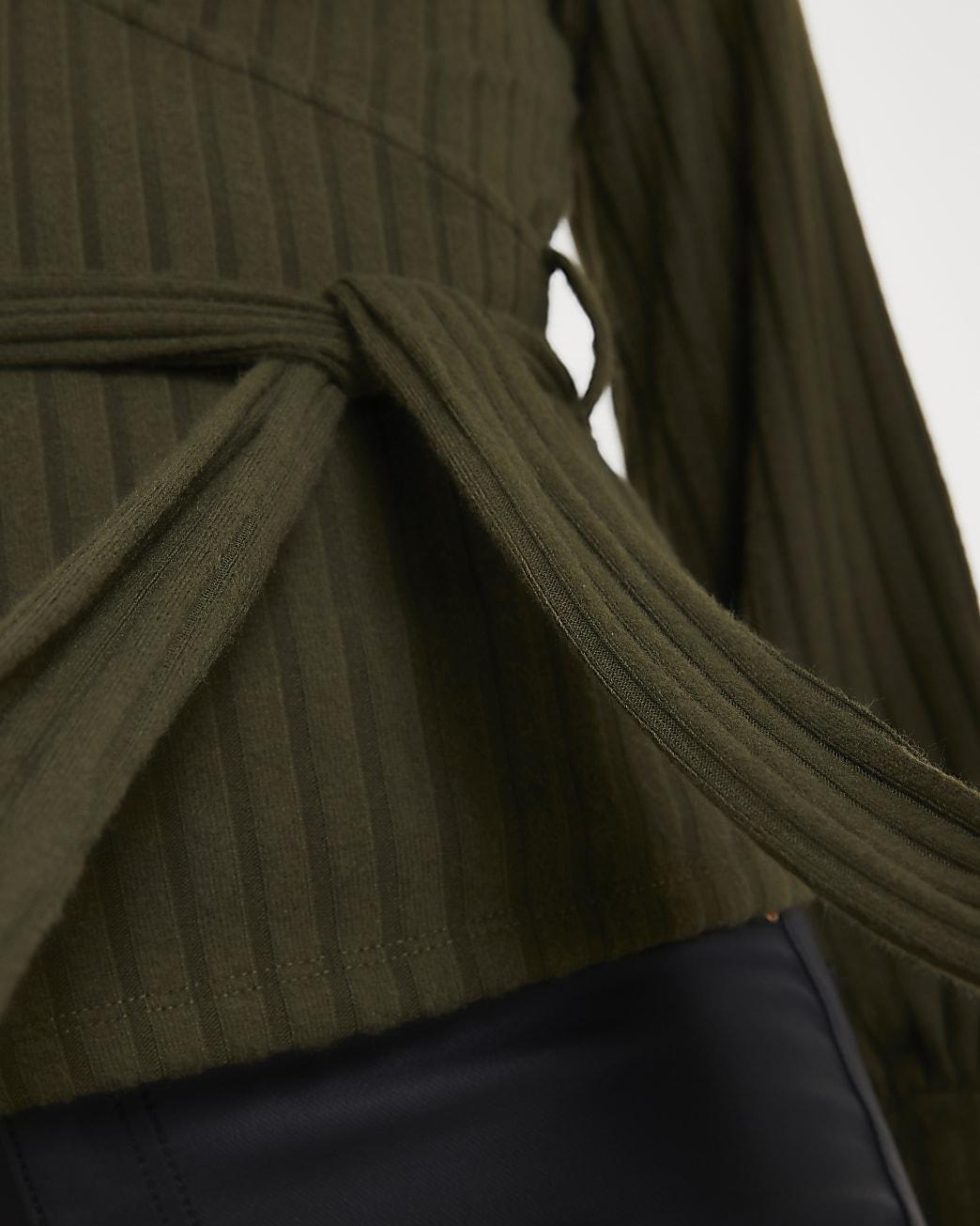 Khaki ribbed long sleeve wrap top