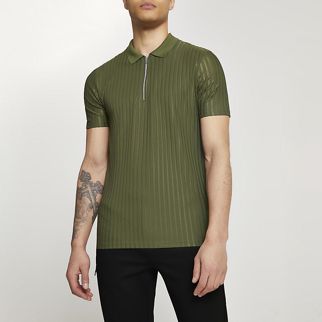 Khaki ribbed slim fit short sleeve polo shirt