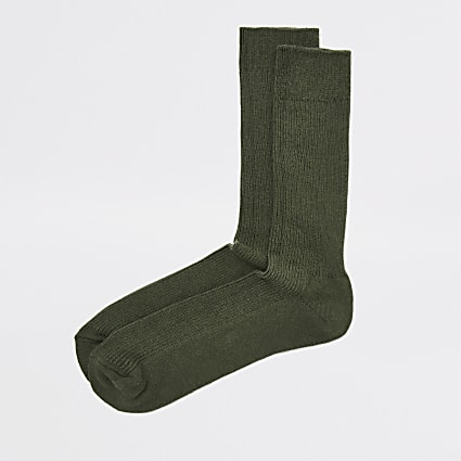 Khaki ribbed socks
