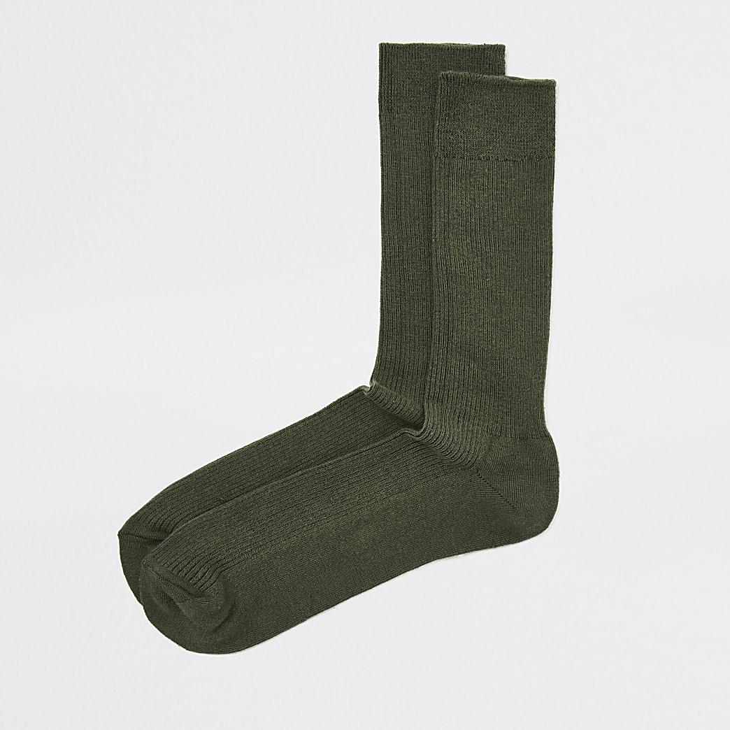 Kaki geribbelde sokken