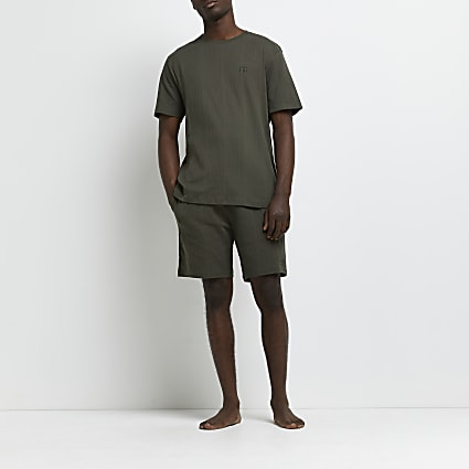 Khaki ribbed t-shirt and shorts pyjama set