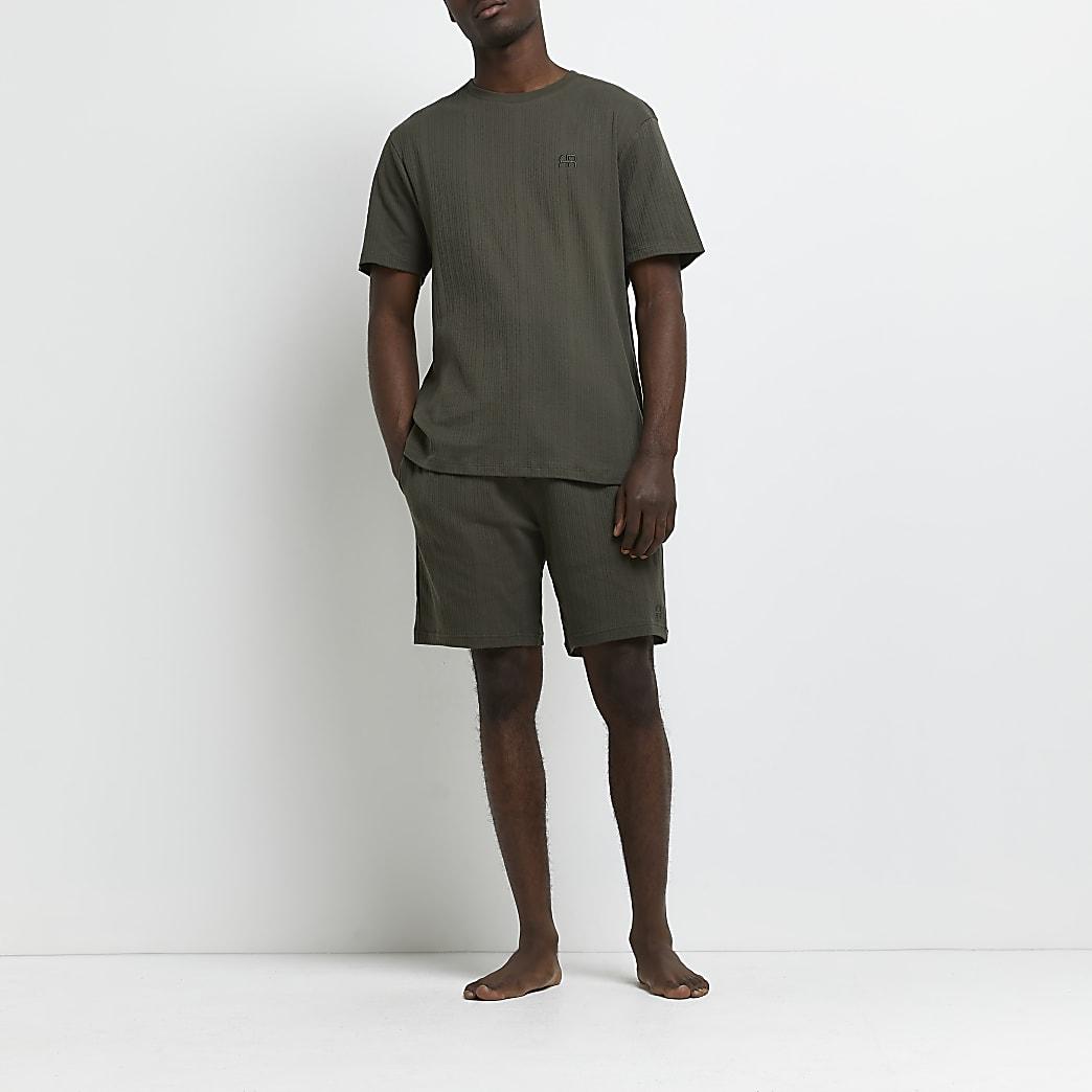 Khaki ribbed t-shirt and shorts pyjama set