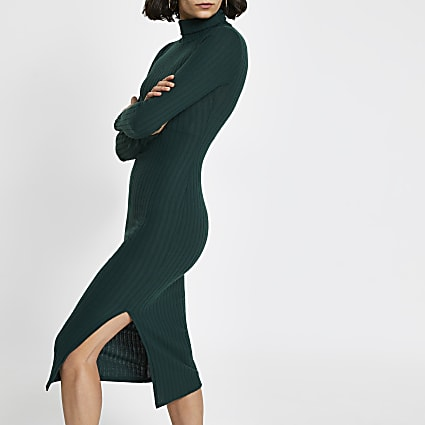 Khaki ribbed turtle neck midi dress