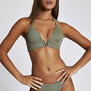 Khaki ribbed V neck triangle bikini top