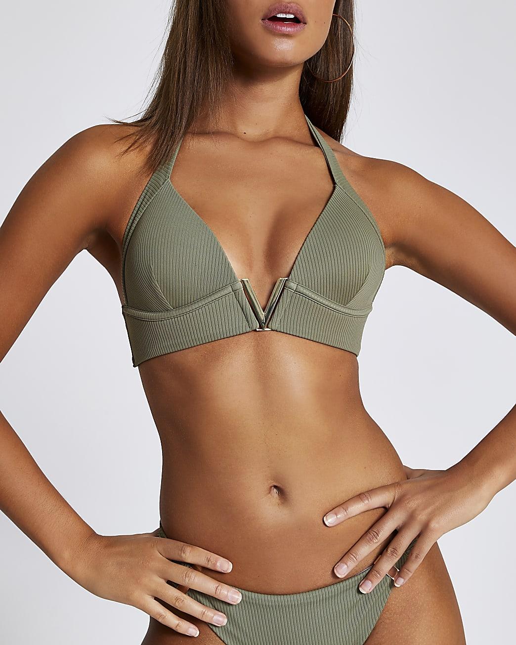 Khaki ribbed V neck triangle bikini top