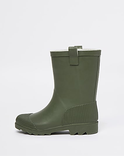 Khaki ribbed wellie boots