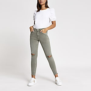 Kaki ripped superskinny Amelie jeans