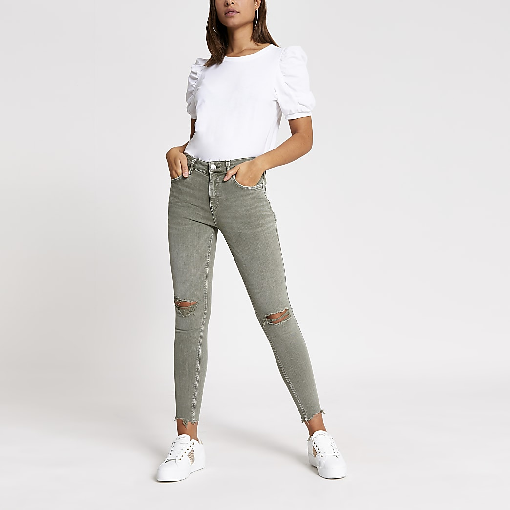 Khaki ripped Amelie super skinny jeans