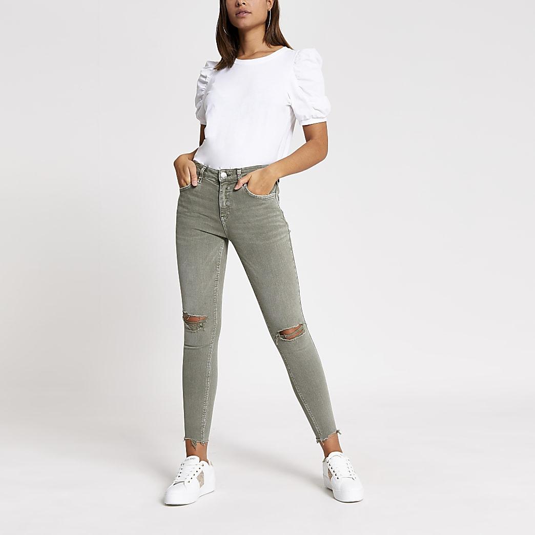 Amelie – Skinny Jeans in Khaki im Used-Look