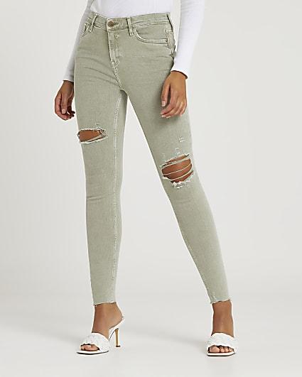 Khaki ripped mid rise skinny jeans