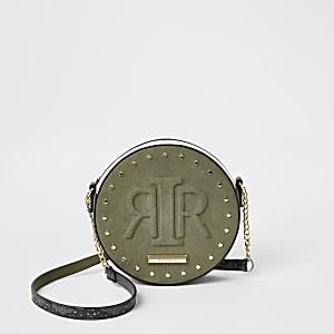 Khaki RIR embossed circle cross body bag