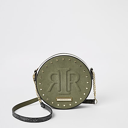 Khaki RIR embossed circle cross body bag
