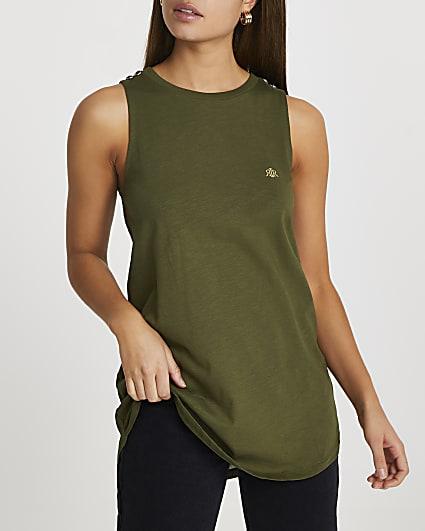 Khaki 'RIR' woven longline vest top