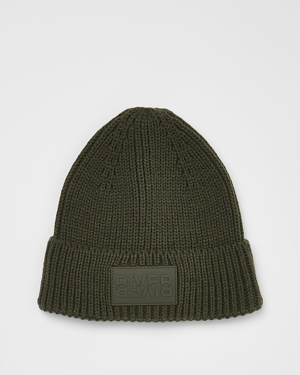Khaki River branded rubber patch beanie hat
