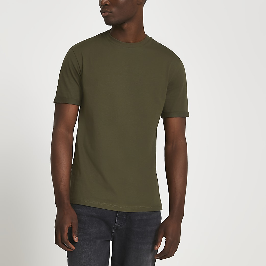 Khaki rolled sleeve slim fit t-shirt
