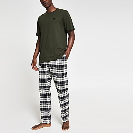Khaki 'RR' check pyjama set
