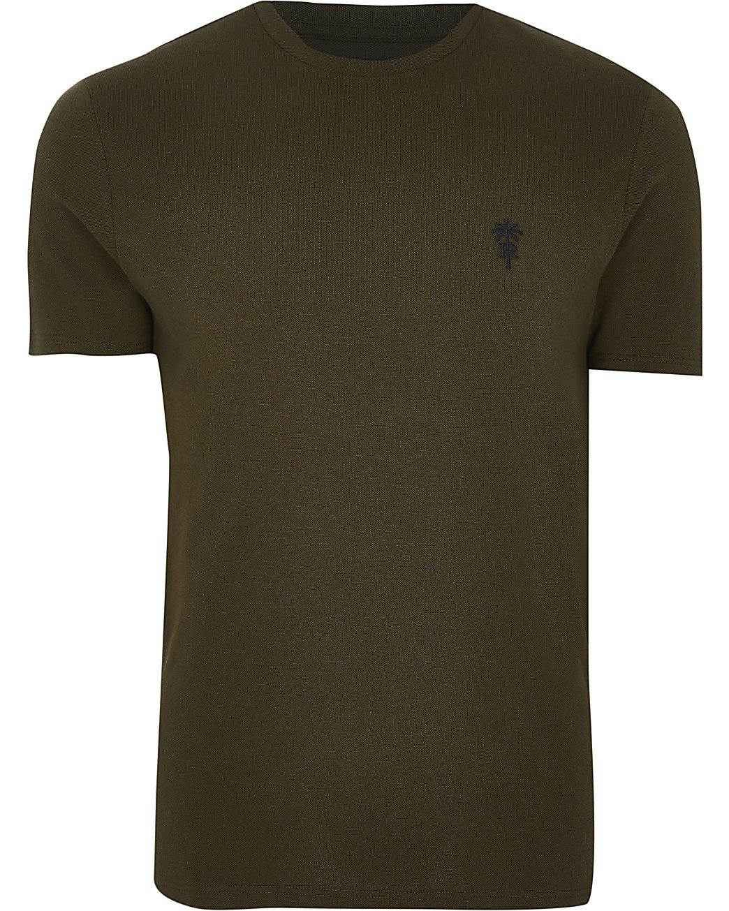 Khaki 'RR' palm trees logo slim fit t-shirt