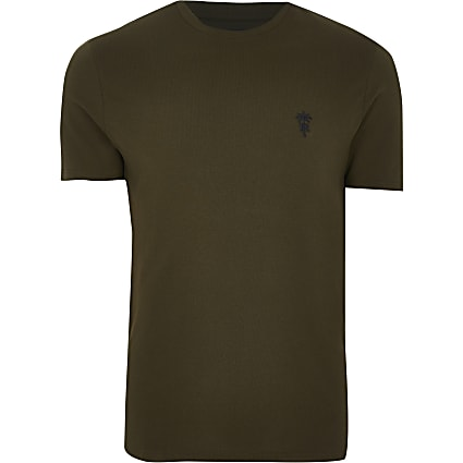 Khaki 'RR' palm trees logo slim fit t-shirt