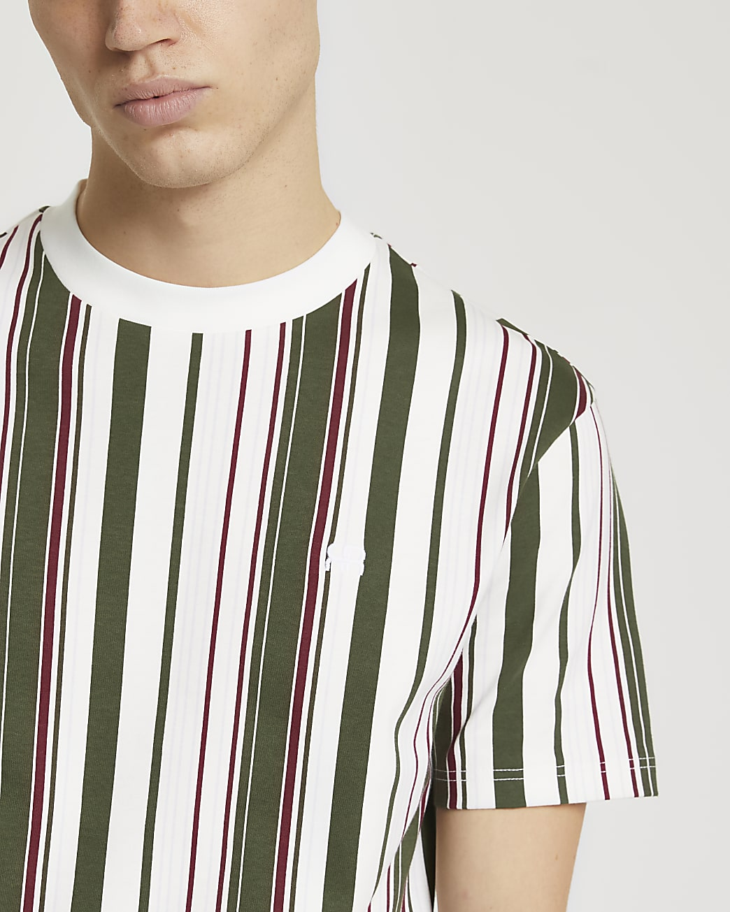 Khaki 'RR' stripe slim fit t-shirt