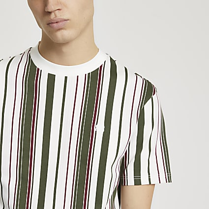 Khaki 'RR' stripe slim fit t-shirt