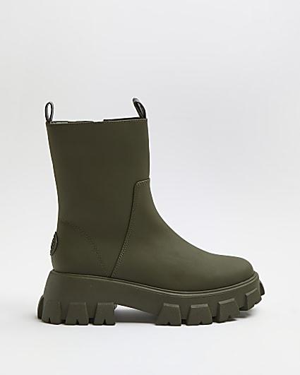 Khaki rubber chunky boots