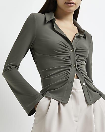 Khaki ruched shirt