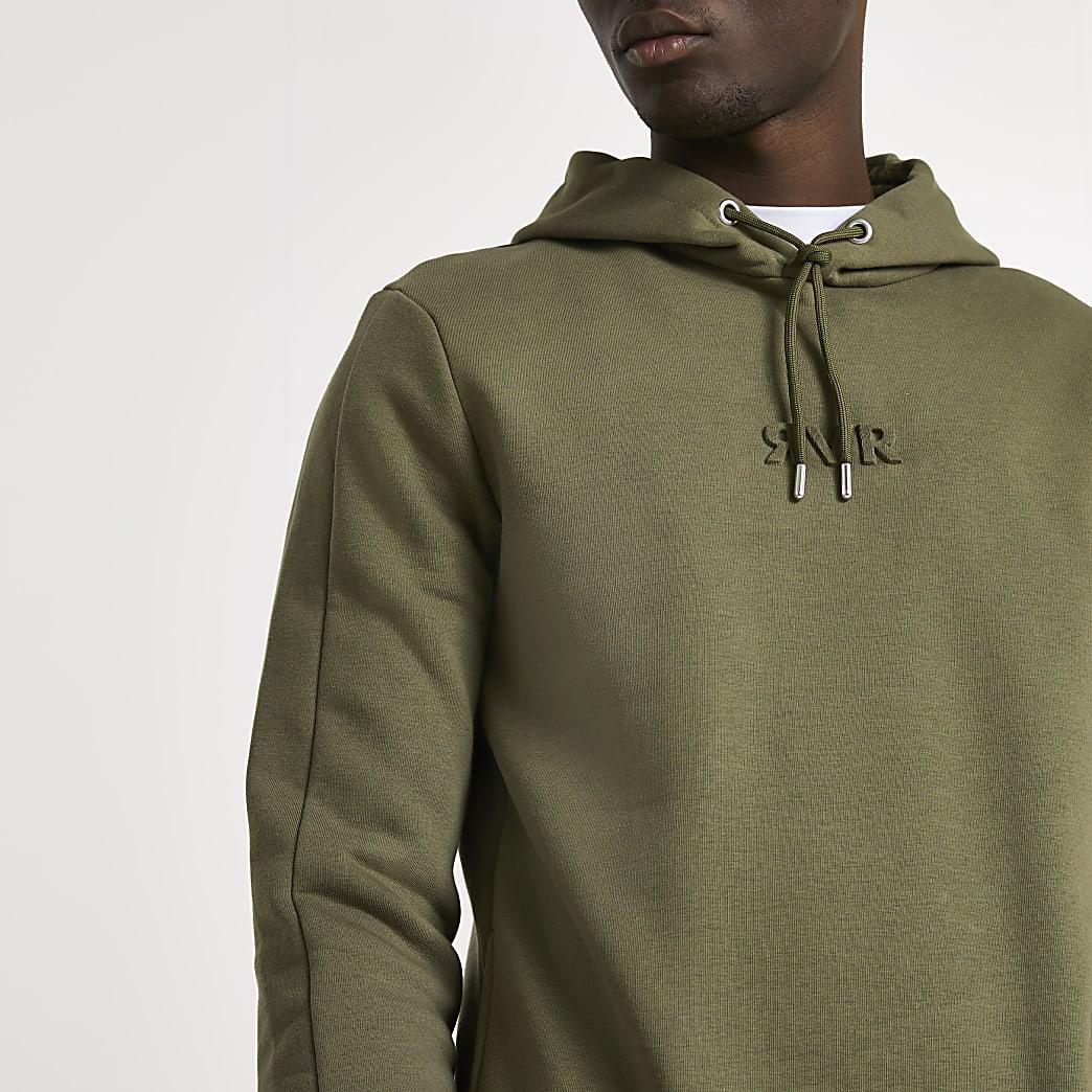 Khaki RVR embossed slim fit hoodie