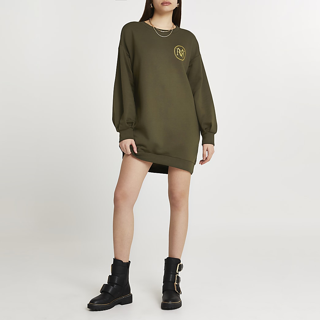 Khaki 'RVR' mini long sleeve sweater dress