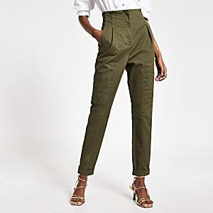 Pantalon cousu en sergé à taille-haute kaki