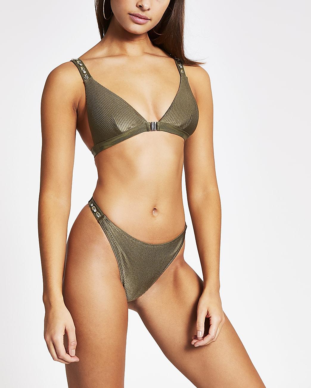 Khaki shell embellish high leg bikini bottoms