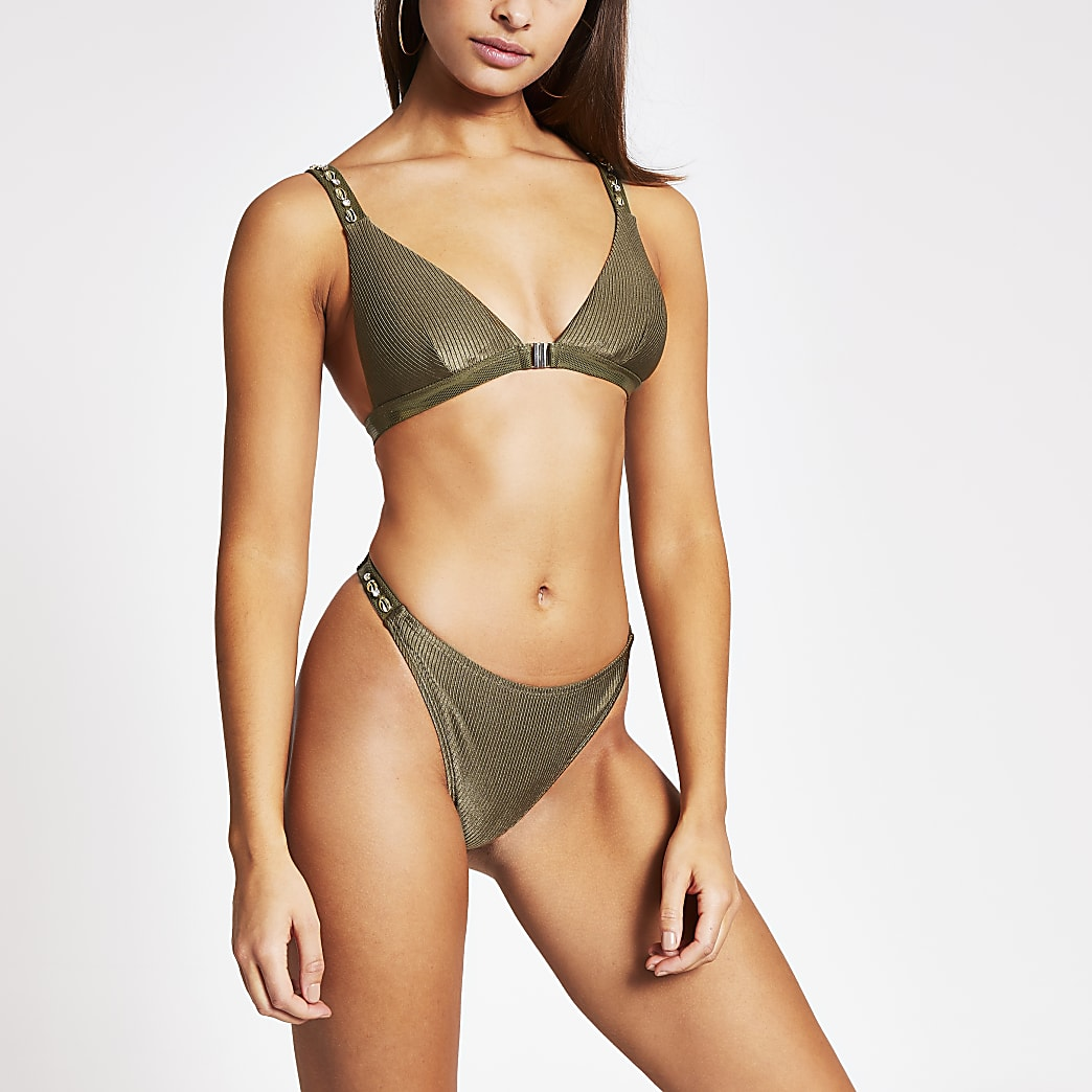Khaki shell embellish high leg bikini bottoms