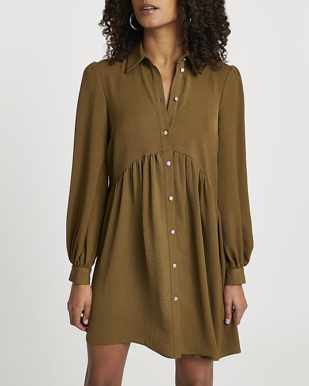 Khaki shirt smock long sleeve mini dress