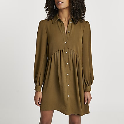 Khaki shirt smock long sleeve mini dress