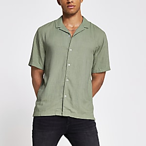Khaki short sleeve linen regular fit shirt