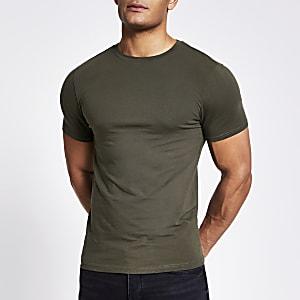 Kaki muscle-fit T-shirt met korte mouwen