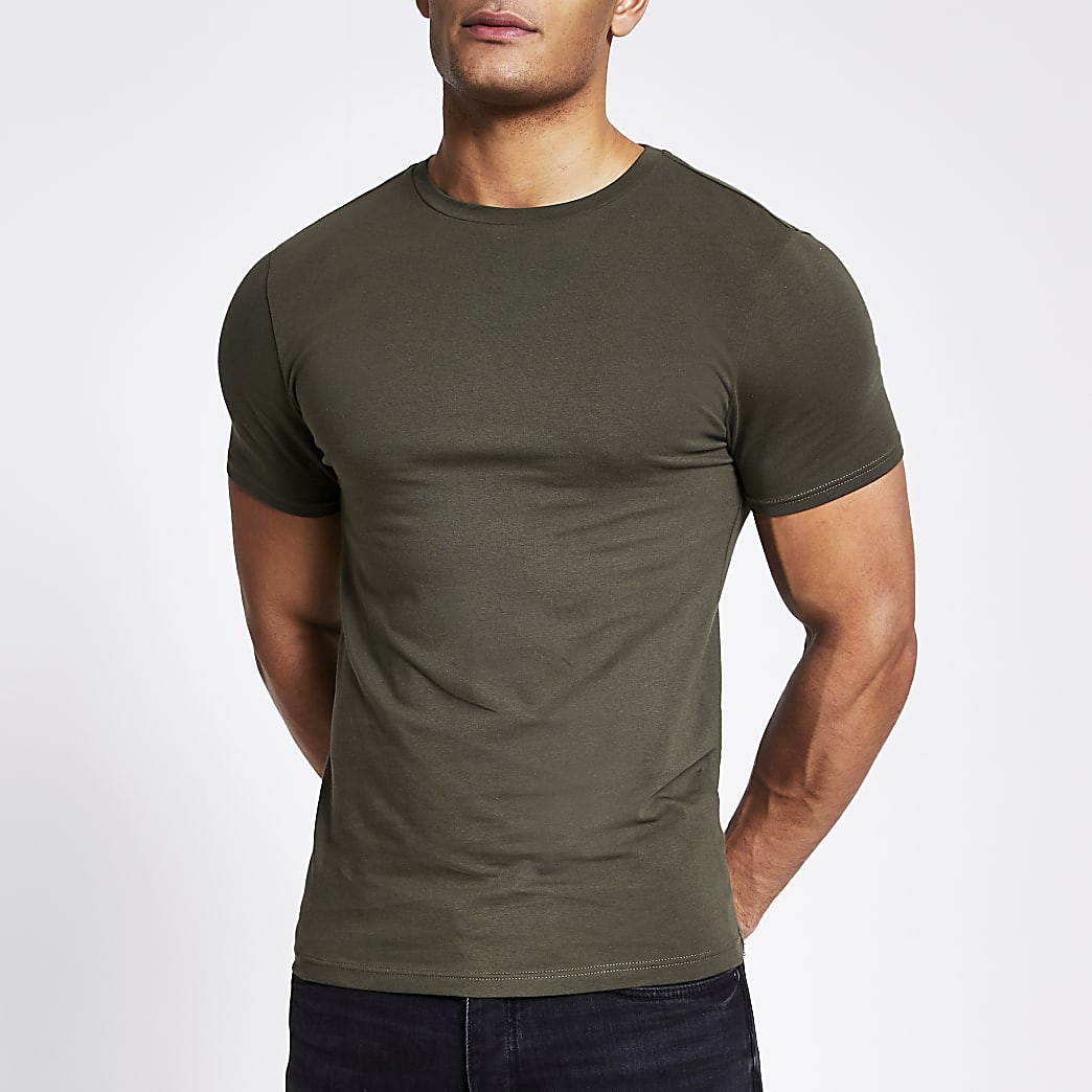 Khaki short sleeve muscle fit T-shirt