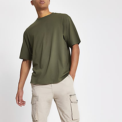 Khaki short sleeve oversized fit T-shirt